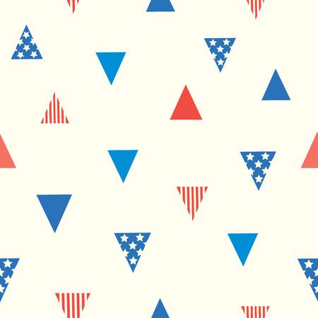 symbole de modèle sans couture de drapeau sur la conception de triangle triangle avec des rayures sur les étoiles rouges et étoiles sur fond bleu . Vecteurs