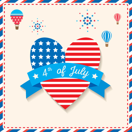 Happy Independence day United states of America, 4th Jul.Design to usa flag pattern in heart shape with ribbon decorated with hot ail balloons and firework.