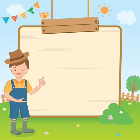 fl: Vector graphic of a cute countryside boy  presenting on the wooden board on natural background.