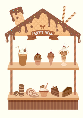 cupcakes isolated: Sweet menu display shelf decorated with chocolate syrup toppings and wafer design to cute   roof house for bakery cafe shop. Illustration