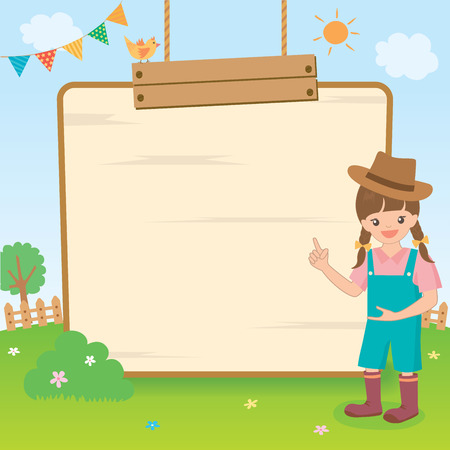 fl: Vector graphic of a cute countryside girl  presenting on the wooden board on natural background. Illustration