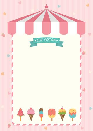 Ijsje en bar verschillende smaken ontwerp met roze winkel achtergrond sjabloon voor menu boord frame. Stock Illustratie