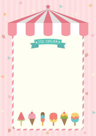 Ice cream cone and bar various flavors design with pink shop background template for menu board frame.