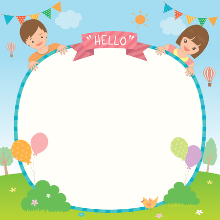 jardin de infantes: Party invitation template design with cute kids boy and girl on park background.