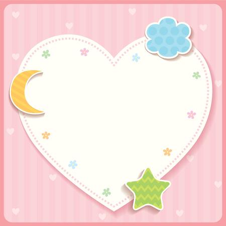 Cute heart template card design with cloud star and moon shape cute heart template card design with cloud star and moon shape on pink stripe background maxwellsz