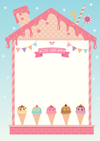 pink roof: Ice cream menu decorated in sweet house cafe design with strawberry pink syrup wafer and toppings on blue background. Illustration