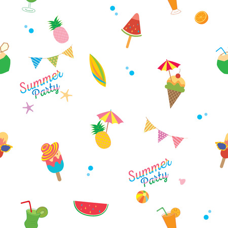 Summer party with ice cream and fruit symbol decorated to seamless pattern.