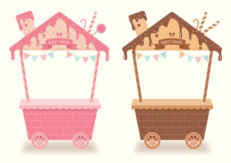 トッピングとベーカリー カフェのカート ショップのかわいい屋根家にウェハ デザイン チョコレートとイチゴのシロップにブースやキオスクの甘い