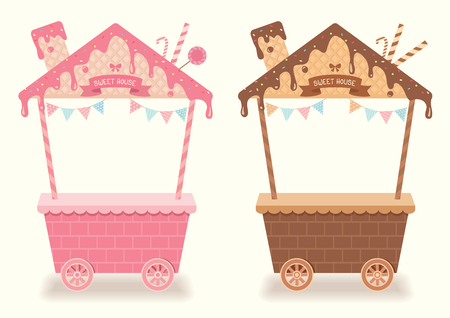 Sweet menu design for booth and kiosk decorated to chocolate and strawberry syrup with toppings and wafer design to cute roof house for bakery cafe cart shop.Pink and  brown