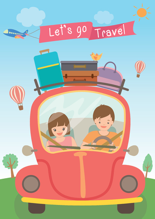 portmanteau: Vector graphic of a couple driving a red car with luggage on the roof for long vacation road trip