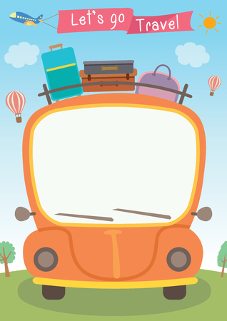 vector graphic of orange car with luggage on the roof and a white blank windscreen for greeting words suitable for many occasions including long holidays or vacation 矢量图像