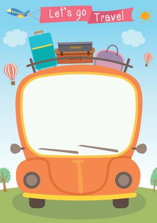 vectorafbeelding van oranje auto met bagage op het dak en een witte lege voorruit voor begroeting woorden geschikt voor vele gelegenheden, waaronder lange vakantie of vakantie