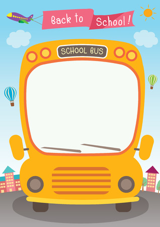 Illustration vector graphic school bus for back to school poster template. Illustration
