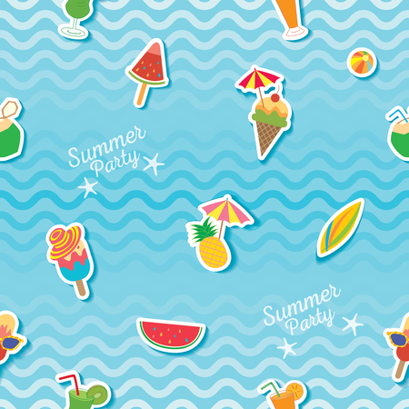 Summer party with ice cream and fruit symbol on water wave background decorated to seamless pattern. Illustration