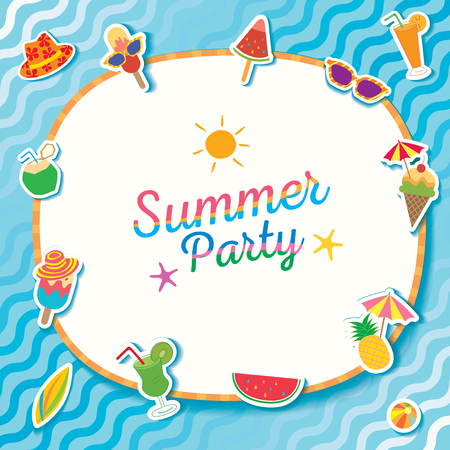 Summer party with ice cream and fruit symbol decorated with water pool. Ilustração