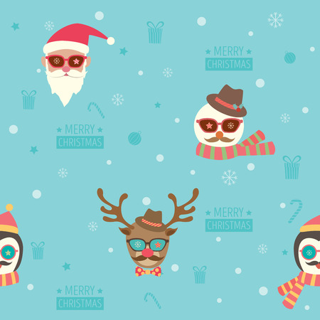 Seamless pattern of Merry christmas background design with santa claus, snowman, reindeer and penguin put on accessories of hipster style. Illustration