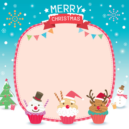 Merry Christmas template card design with santa claus, snowman, reindeer's cupcakes on snow background.
