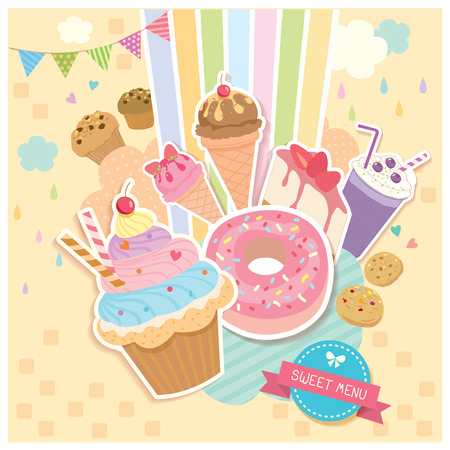 Vector of sweet menu dessert and drink design to poster.