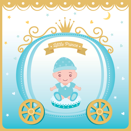 Illustration vector of baby shower greeting card for new born decorated with prince cart and crown on blue background. Vetores