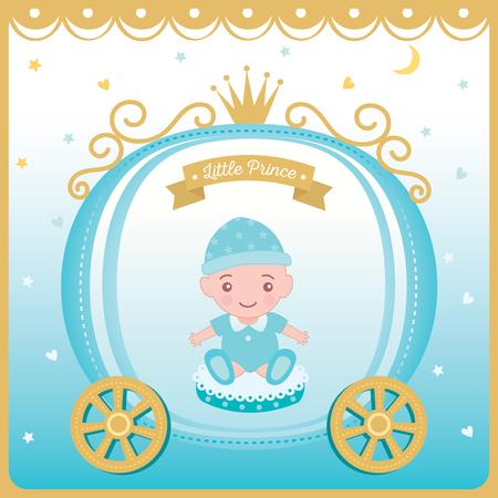 Vector de ilustración de tarjeta de felicitación de baby shower para recién nacido decorado con carro de príncipe y corona sobre fondo azul. Ilustración de vector