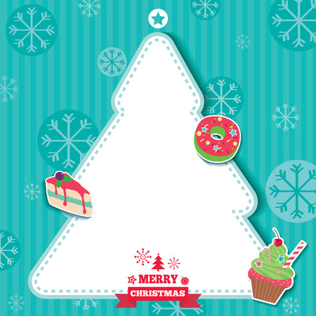Merry Christmas design with dessert and snacks and Christmas tree frame on green background.