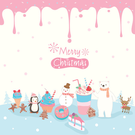 Illustration vector of dessert decorated with pink syrup and winter animals on snow background.