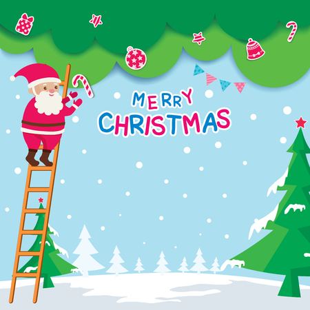 Illustration vector of Merry Christmas design with santa calus and tree.