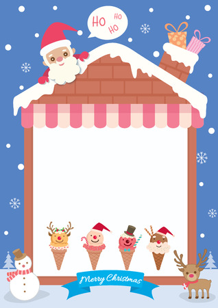 Merry christmas background template decorated with house frame, chimney and ice cream.