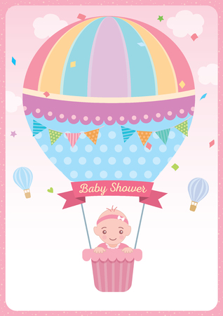 Baby shower card for newborn design with baby girl on cute hot air balloon on pink sky background. Vectores