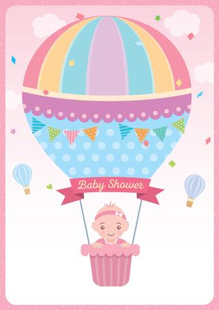 Tarjeta de baby shower para diseño recién nacido con niña en lindo globo de aire caliente sobre fondo de cielo rosa. Ilustración de vector