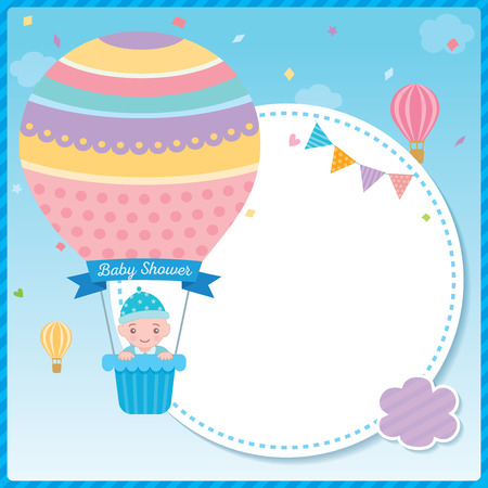 Baby shower card for newborn design with baby boy on cute hot air balloon on pink sky background.