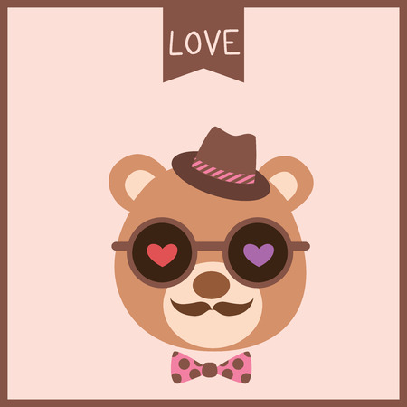 Illustration vector of a cute bear put on sunglasses decorated with hearts, bow tie and hat for valentine's day card design on hipster style.