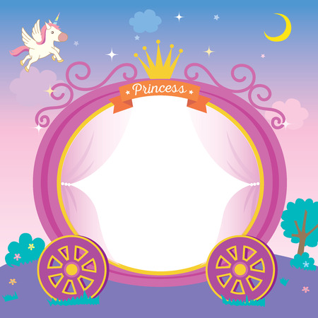 Illustration of cute princess cart template on night background with unicorn stars and moon. Stock Illustratie