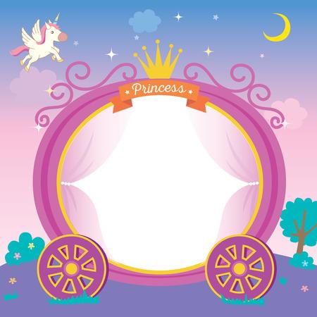 Ilustración de la plantilla de carro de princesa linda en el fondo de la noche con estrellas de unicornio y luna.
