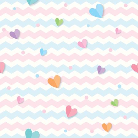 Illustrationsvektor von Pastellherzen verziert auf Zickzackhintergrunddesign für nahtloses Muster. Vektorgrafik