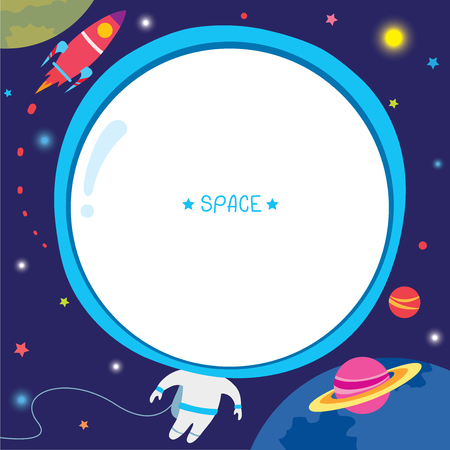 Illustration vector of astronaut template design with rocket moon and stars on space galaxy background. Illusztráció