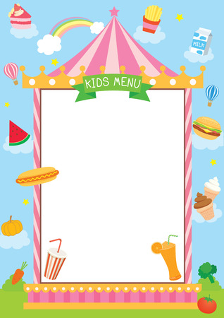 Illustration vector of kids menu design with circus tent carnival on nature background decorated with food, drinks, dessert and ingredients.