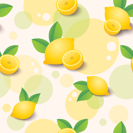 Illustration vector of lemon and leafs decorated with circle shape design for seamless pattern background.