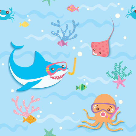 Illustration vector of cute shark octopus stingray crab and fish on undersea background pastel color design for seamless pattern. Иллюстрация