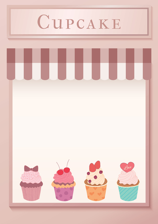 Illustration vector of  Cupcakes cafe template design on front window of restaurant background. 矢量图像