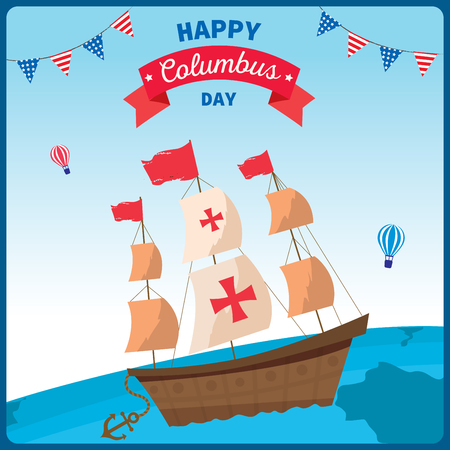 Illustration vector of Happy Columbus Day background.