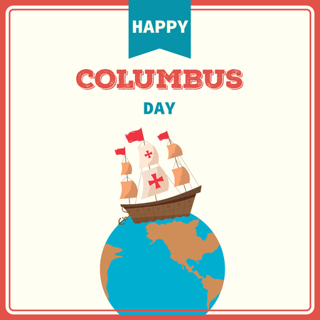 Illustration vector of Happy Columbus Day background retro vintage style.