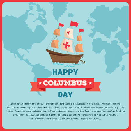 Illustration vector of Happy Columbus Day background template with retro vintage style.