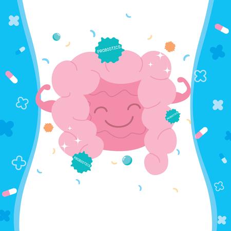 El vector de ilustración de los beneficios son los probióticos para el tracto digestivo. Ilustración de vector