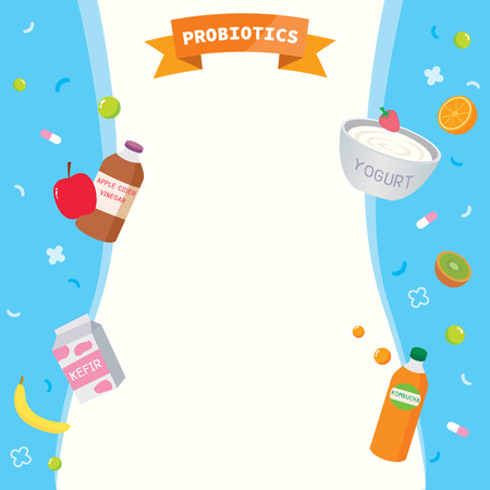 Illustration vector of nutrient-rich food for probiotics design with body shape on blue background. 向量圖像