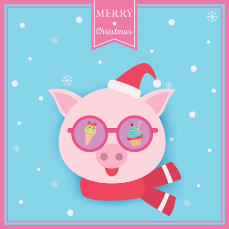 Illustration vector of Merry Christmas card design with pig put on sunglasses  santa hat and scarf on snow background.