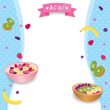 Vector of Healthy acai food and fruits design with body shape background. Ilustração