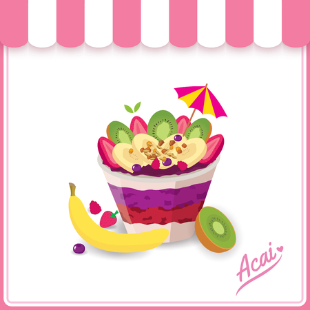 Illustration vector of Healthy acai food and fruits design with white background.