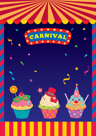 Carnival sign and frame design background template with cupcakes. Illustration