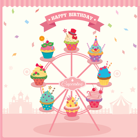 Illustration vector of cupcakes on ferries wheel for carnival party.